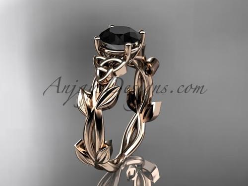 Handmade Celtic Bridal Rose Gold Black Diamond Ring CT7522