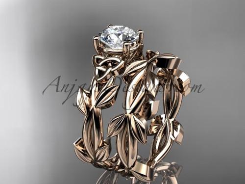 Handmade Celtic Rose Gold Moissanite Wedding Ring CT7522S