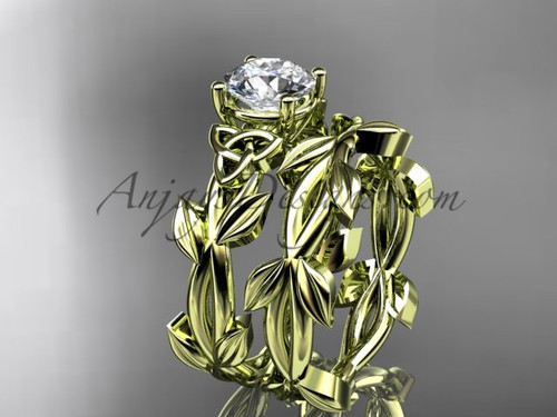 Handmade Celtic Yellow Gold Moissanite Wedding Ring CT7522S