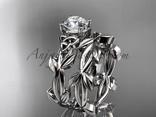 Handmade Celtic Platinum Moissanite Wedding Ring CT7522S