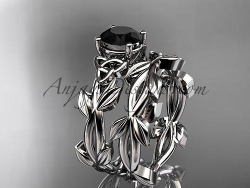 Celtic White Gold Black Diamond Engagement Ring CT7522S