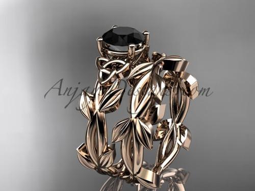 Celtic Rose Gold Black Diamond Engagement Ring CT7522S