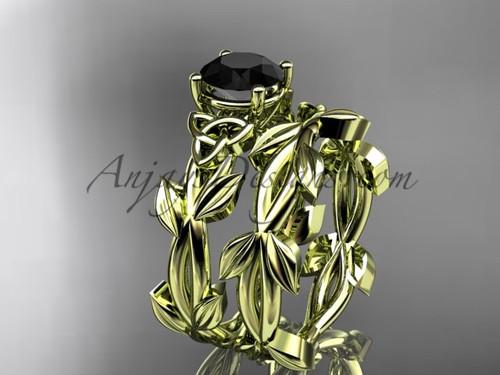 Celtic Yellow Gold Black Diamond Engagement Ring CT7522S