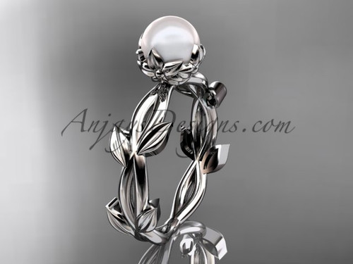 Simple Engagement Rings - Pearl 14KT White Gold Flower and Leaf Engagement Ring AP522