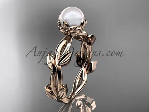 Simple Engagement Rings - Pearl Rose Gold Flower Ring AP522