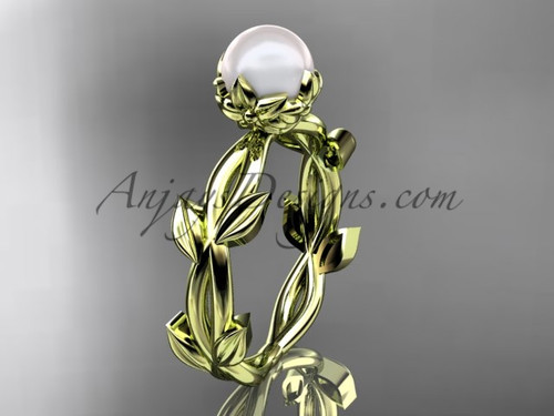 Simple Engagement Ring - Pearl Yellow Gold Flower Ring AP522