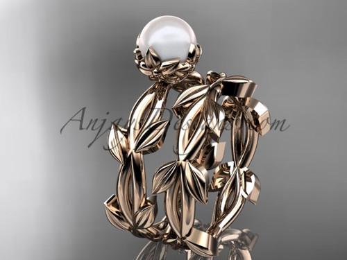 Simple Engagement Set - Pearl Rose Gold Flower Set AP522