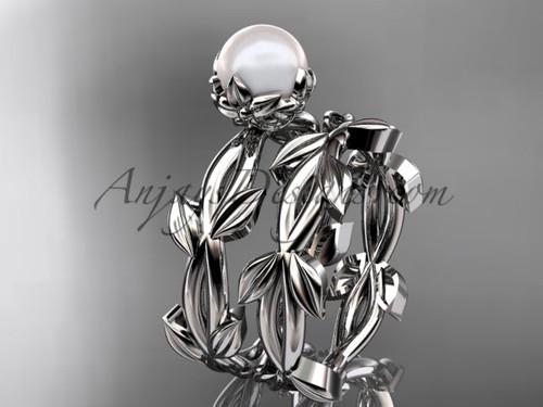 Simple Engagement Sets - Pearl platinum Flower and Leaf Engagement Sets AP522