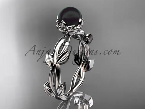 Black Pearl Wedding Rings - White Gold Flower Ring ABP522