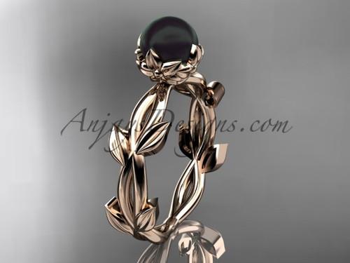 Black Pearl Wedding Rings - Rose Gold Flower Ring ABP522