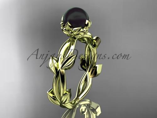 Black Pearl Wedding Rings - Yellow Gold Flower Ring ABP522