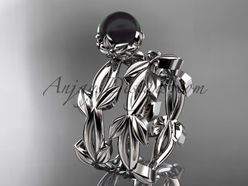 Black Pearl Wedding Ring Sets - White Gold leaf Ring ABP522S