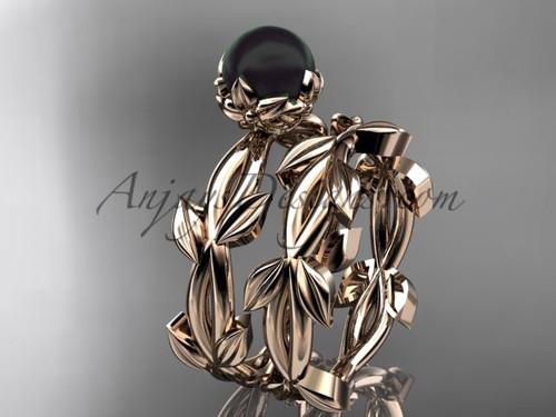 Black Pearl Wedding Ring Sets - Rose Gold leaf Ring ABP522S