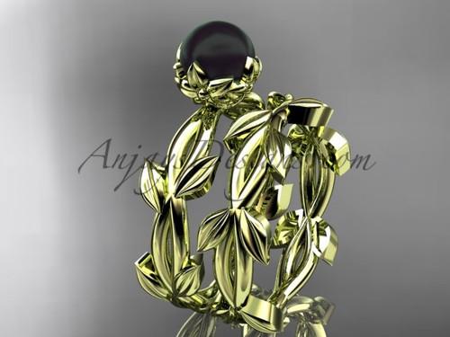 Black Pearl Wedding Ring Set - Yellow Gold leaf Ring ABP522S