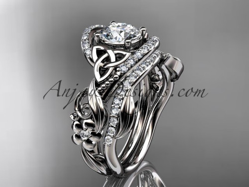 """14kt white gold diamond celtic trinity knot wedding ring, engagement set with a """"Forever One"""" Moissanite center stone CT7211S"""