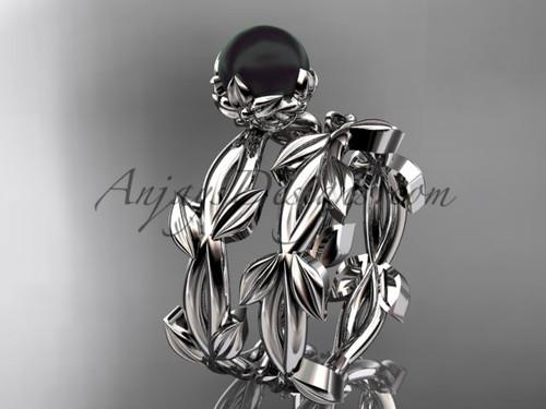 Black Pearl Wedding Ring Sets - Platinum leaf Ring ABP522S