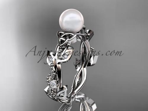 Pearl Handmade Wedding Ring - White Gold Celtic Ring CTP759