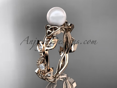 Pearl Handmade Wedding Ring - Rose Gold Celtic Ring CTP759