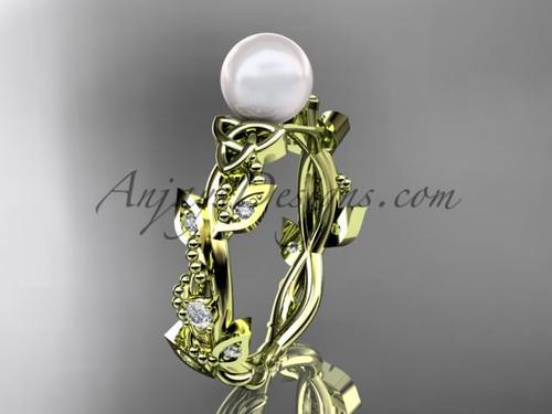 Pearl Handmade Bridal Ring - Yellow Gold Celtic Ring CTP759