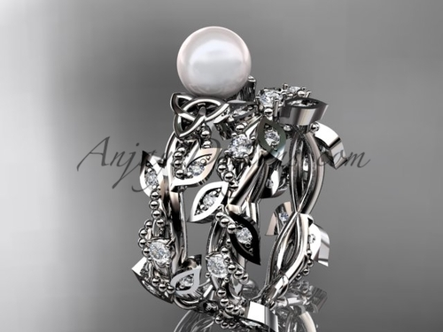 Pretty Pearl Wedding Sets -  White Gold Celtic Set CTP759S
