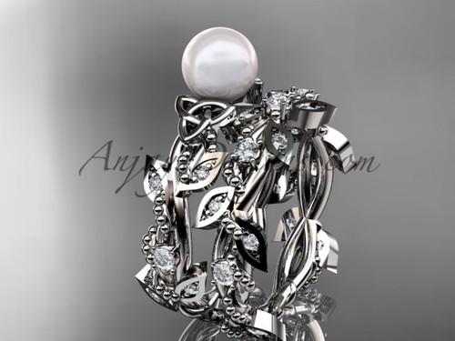 Pretty Pearl Bridal Sets - Platinum Celtic Ring CTP759S