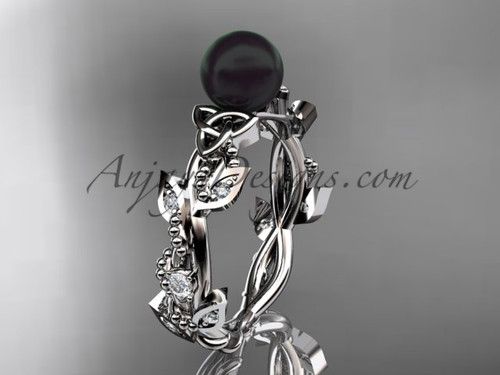 Celtic Engagement Rings - White Gold Black Pearl Ring CTBP59