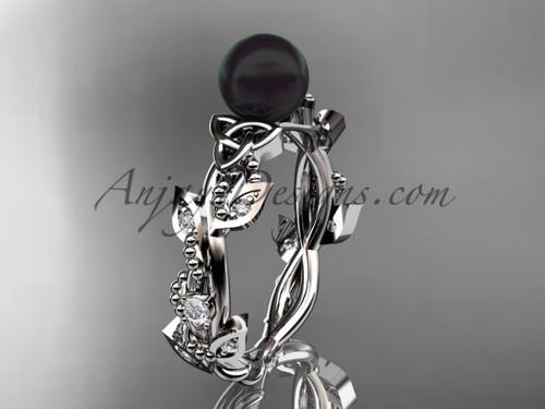Celtic Engagement Rings -Platinum Black Pearl Ring CTBP759