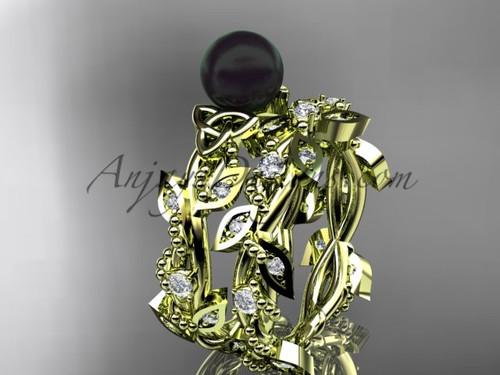 Celtic Wedding Yellow Gold Black Pearl Bridal Set CTBP759S
