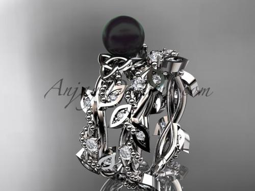 Celtic triquetra knot 14kt white gold diamond round black cultured pearl leaf wedding ring set CTBP759S