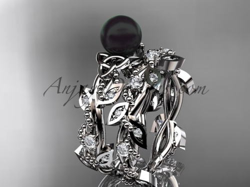 Celtic triquetra knot platinum diamond round black cultured pearl leaf wedding ring set CTBP759S
