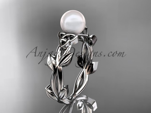 Celtic Wedding Rings - White Gold Pearl Ring CTP7522