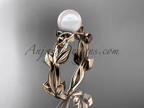 Celtic Wedding Rings - Rose Gold Pearl Ring CTP7522
