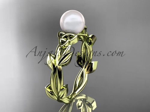 Celtic Wedding Rings - Yellow Gold Pearl Ring CTP7522