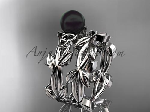Celtic Bridal Sets - Platinum Black Pearl Set CTBP7522S