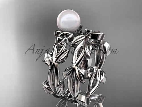 Celtic Pearl Engagement Sets - White Gold Set CTP7522S