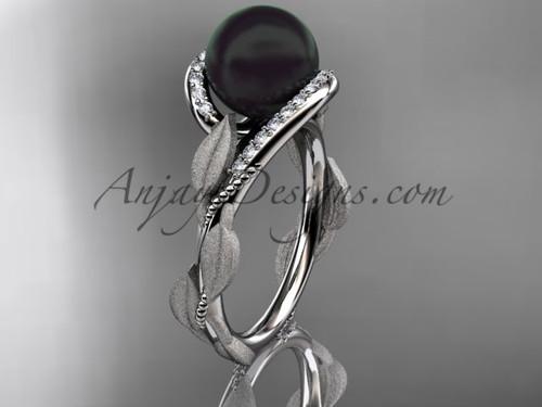 White Gold Leaf Tahitian Black Pearl Wedding Ring ABP64