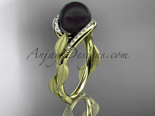 Yellow Gold Leaf Tahitian Black Pearl Wedding Ring ABP64