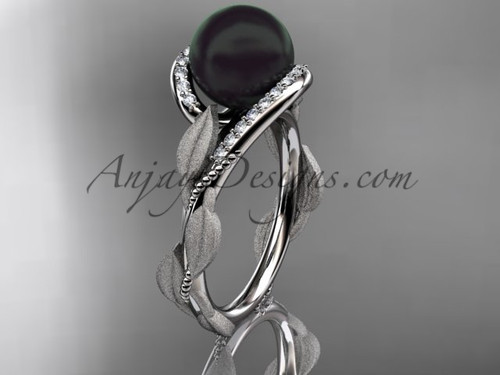 Platinum Leaf Tahitian Black Pearl Wedding Ring ABP64