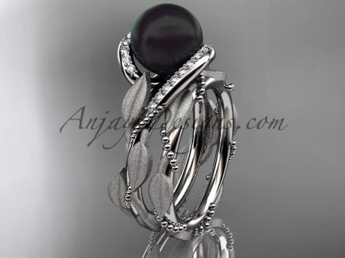 Round Black Pearl Wedding Set - White Gold Leaf Ring ABP64S