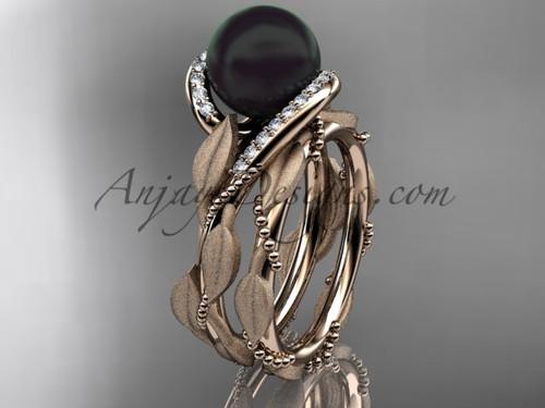 Round Black Pearl Wedding Set - Rose Gold Leaf Ring ABP64S