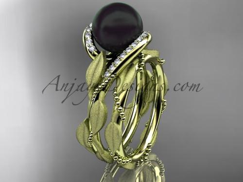 Round Black Pearl Wedding Set - Yellow Gold Leaf Ring ABP64S
