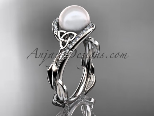 Celtic Knot Wedding Rings - White Gold Pearl Ring CTP764
