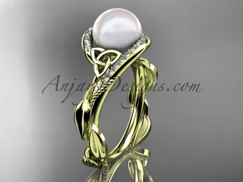 Celtic Knot Wedding Rings - Yellow Gold Pearl Ring CTP764