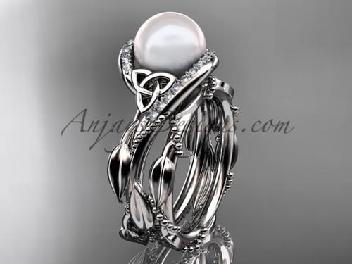 Celtic Tri Knot White Gold Pearl Leaf Engagement Set CTP764S