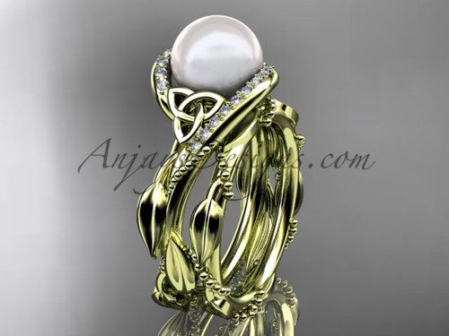 Celtic Tri Knot Yellow Gold Pearl Leaf Engagement Set CTP764S