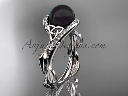 White Gold Black Pearl and Diamond Engagement Rings CTBP764
