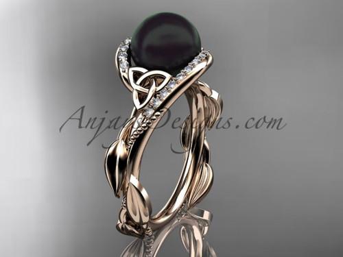 Rose Gold Black Pearl and Diamond Engagement Rings CTBP764