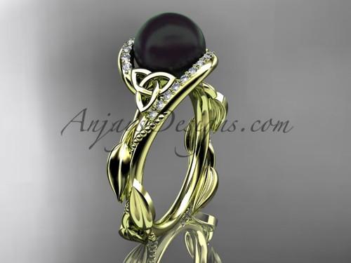 Celtic 14kt yellow gold ring diamond black pearl engagement ring CTBP764
