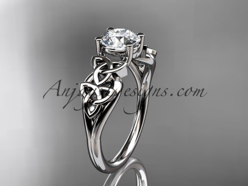 "14kt white gold celtic trinity knot wedding ring, engagement ring with a ""Forever One"" Moissanite center stone CT7169"