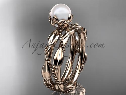Unique Pearl Engagement Ring Set - Rose Gold Wedding Ring Wedding Set AP178S